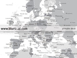 Printable matching world map and US map with cities in grayscale, 36x24""