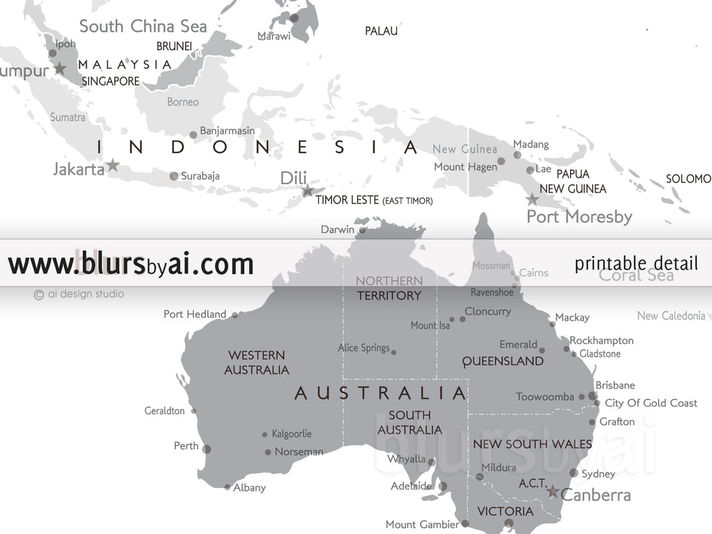 Map Of Western Australia Printable.Printable Matching World Map And Us Map With Cities In Grayscale
