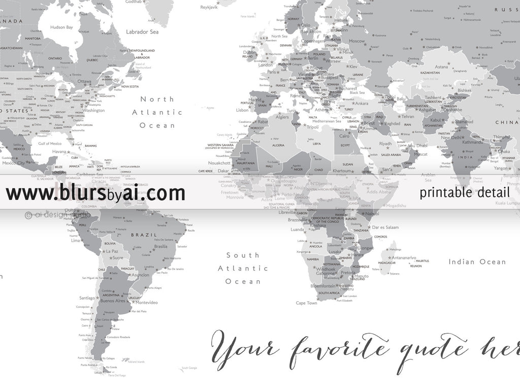 Personalized World Map Printable World Map With Cities Capitals - World map black and white printable with countries