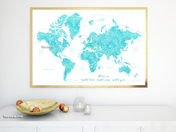 Printable world map poster in watercolor style featuring cities, capitals, states...large 36x24""