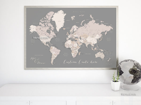 Custom quote - printable world map with cities, capitals, countries, US States... labeled.