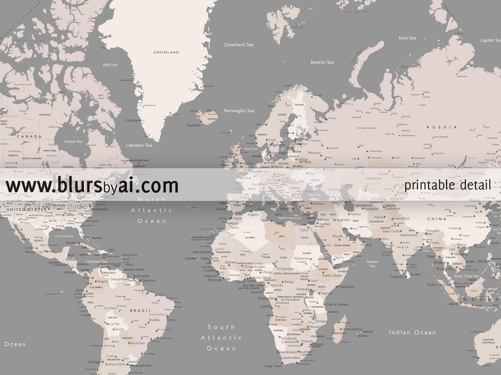 Personalized printable world map with cities and capitals blursbyai