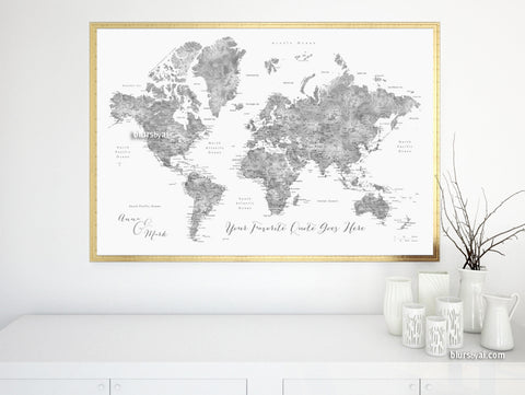 "Personalized map print: world map with cities in grayscale watercolor. ""Jimmy"""