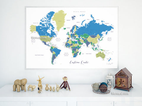 Custom quote - printable world map with cities, capitals, countries, US States... labeled. Color combo: in the wild