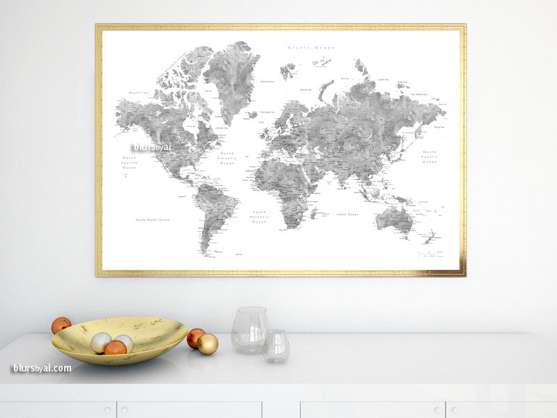 Printable watercolor world map with cities in grayscale, large 36x24""