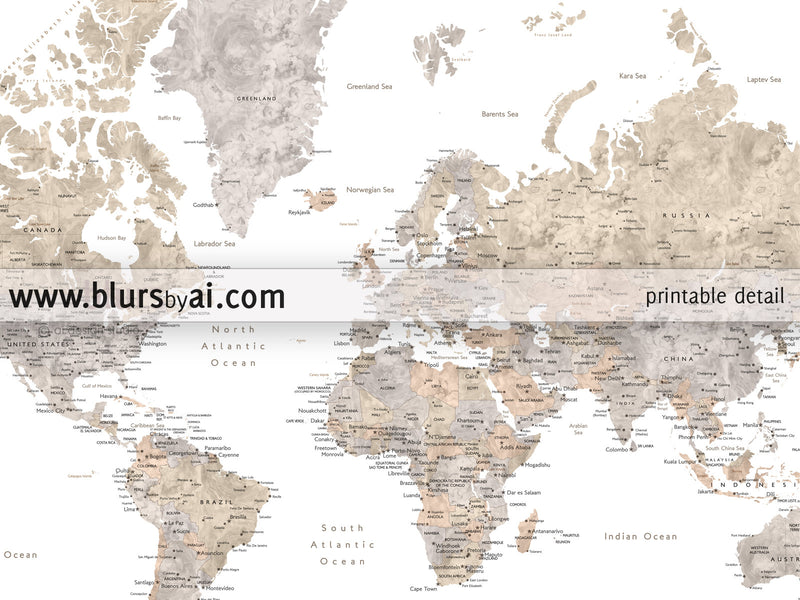"Printable watercolor world map with cities in neutrals, no quote, sizes from 30x20"" to 60x40"" - For personal use only"