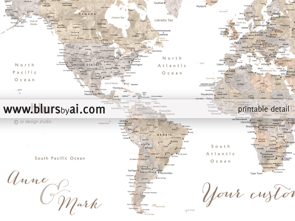 Personalized world map printable art earth tones watercolor