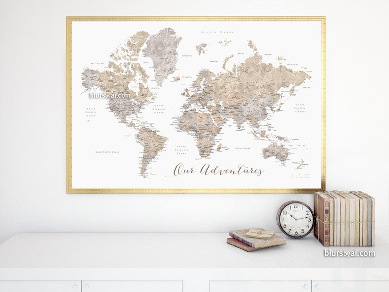 "Printable watercolor world map with cities in neutrals, Our Adventures, large 36x24"" - For personal use only"