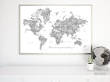 Grayscale watercolor printable world map, I'll go everywhere with you, large 36x24""