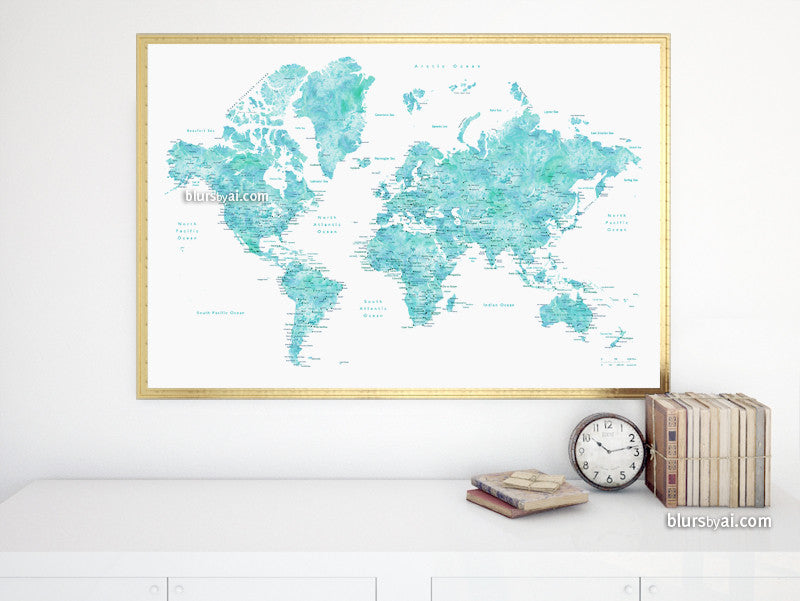 "Printable world map poster in watercolor style featuring cities, capitals, states...no quote, large 36x24"" - For personal use only"
