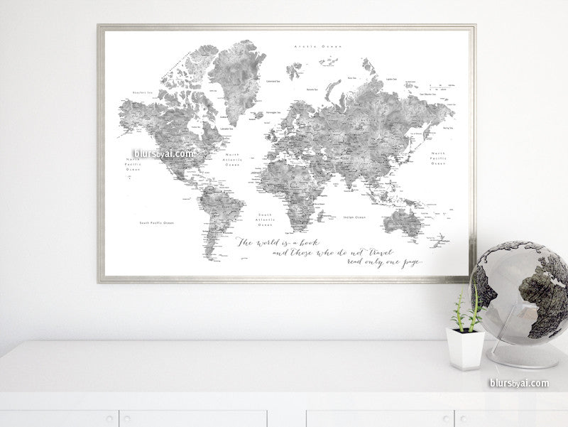 The world is a book, grayscale watercolor printable world map, large 36x24""