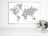 "Grayscale watercolor printable world map, large 60x40"", the world is a book and those who do not travel read only one page"