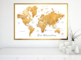 Printable world map with cities in dark gold foil effect featuring the saying Our Adventures, large 60x40""