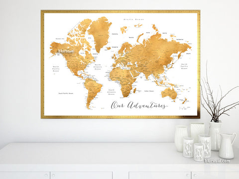 Printable world map with cities in dark gold foil effect featuring the saying Our Adventures, large 36x24""