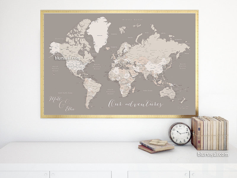 Custom quote - Printable world map with cities, capitals, countries, US States... labeled. Color combination: Mathilde