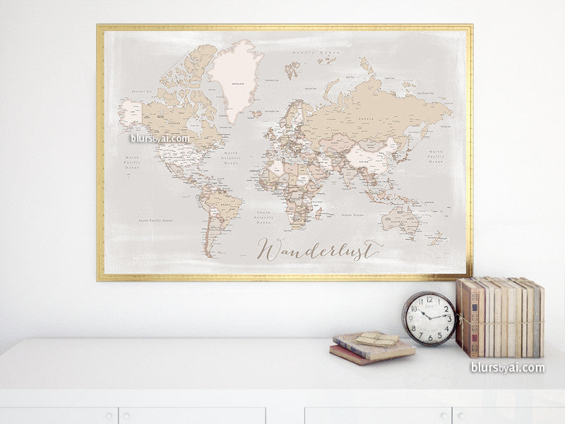"Wanderlust, printable world map with cities in rustic style, 36x34"" - For personal use only"