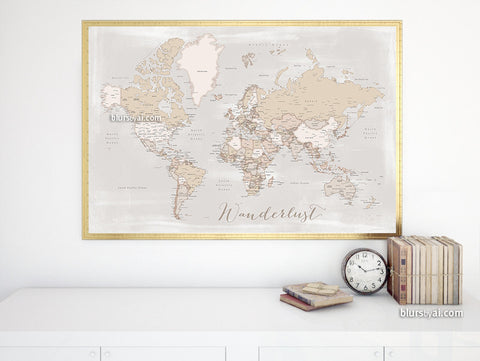 Wanderlust, printable world map with cities in rustic style, 36x34""