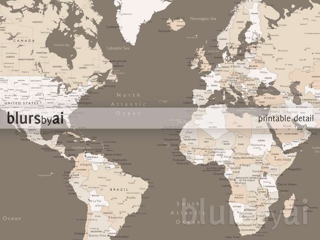 Custom quote color and size world map with cities capitals