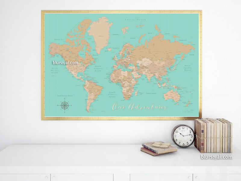 Vintage style world map printable art in aquamarine, large 36x24""