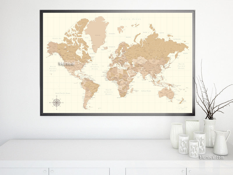 Vintage style world map printable art in ivory and neutrals, large 36x24""