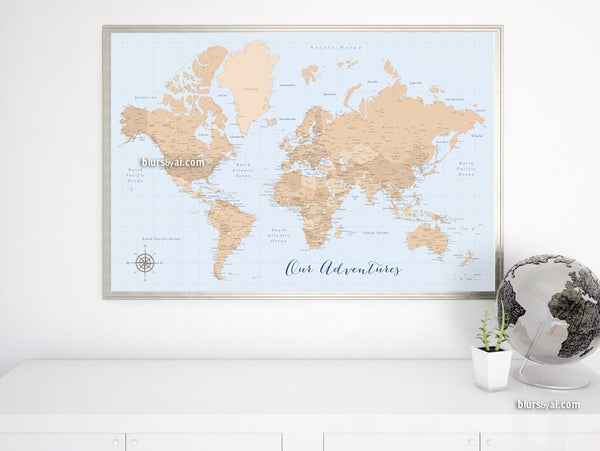 Vintage style world map printable art, Our Adventures, large 36x24""