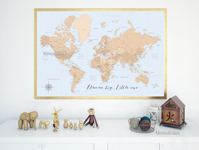 Vintage style world map printable art, Dream big Little one, large 36x24""