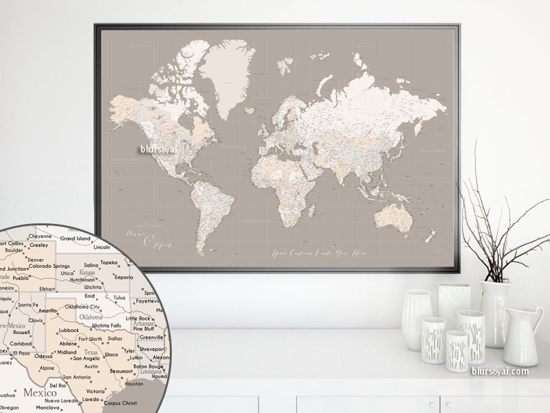 Custom world map print - highly detailed map with cities in light earth tones