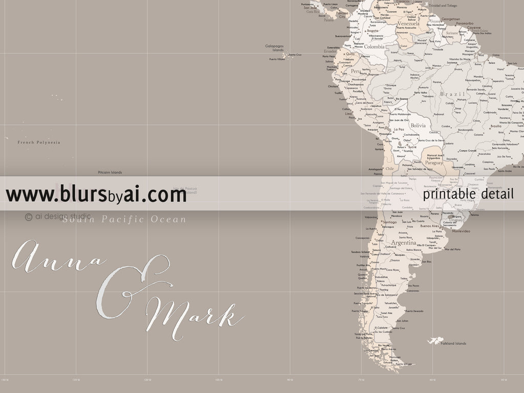 Custom quote highly detailed world map printable with cities capitals countries us states labeled light earth tones custom quote highly detailed world map printable with cities capitals countries us gumiabroncs Choice Image