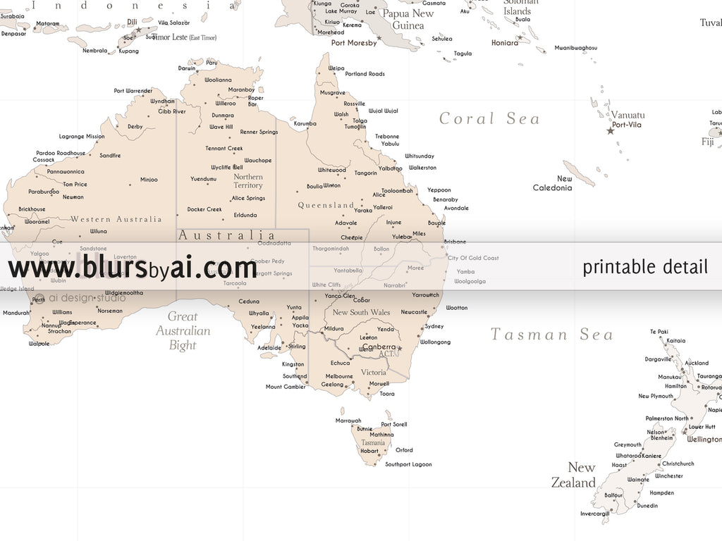 Personalized World Map Highly Detailed World Map Printable With - Printable us map with capitals