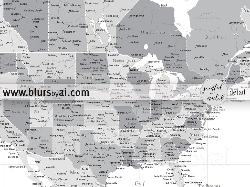 Personalized world map print highly detailed map with cities light gray in the city in the personalized world map print highly detailed map with cities light gray gumiabroncs Images
