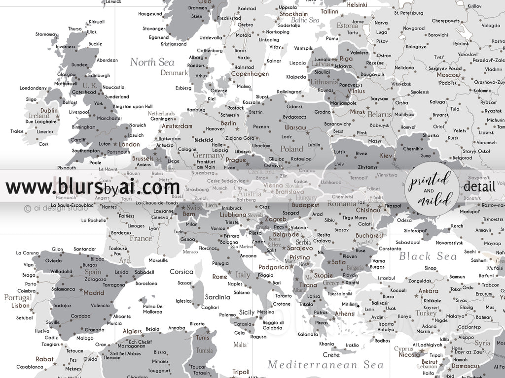 "Custom world map print - highly detailed map with cities light gray. ""In the city"""
