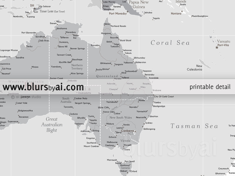 "Customized PRINTABLE highly detailed world map with cities. ""Cristina"""