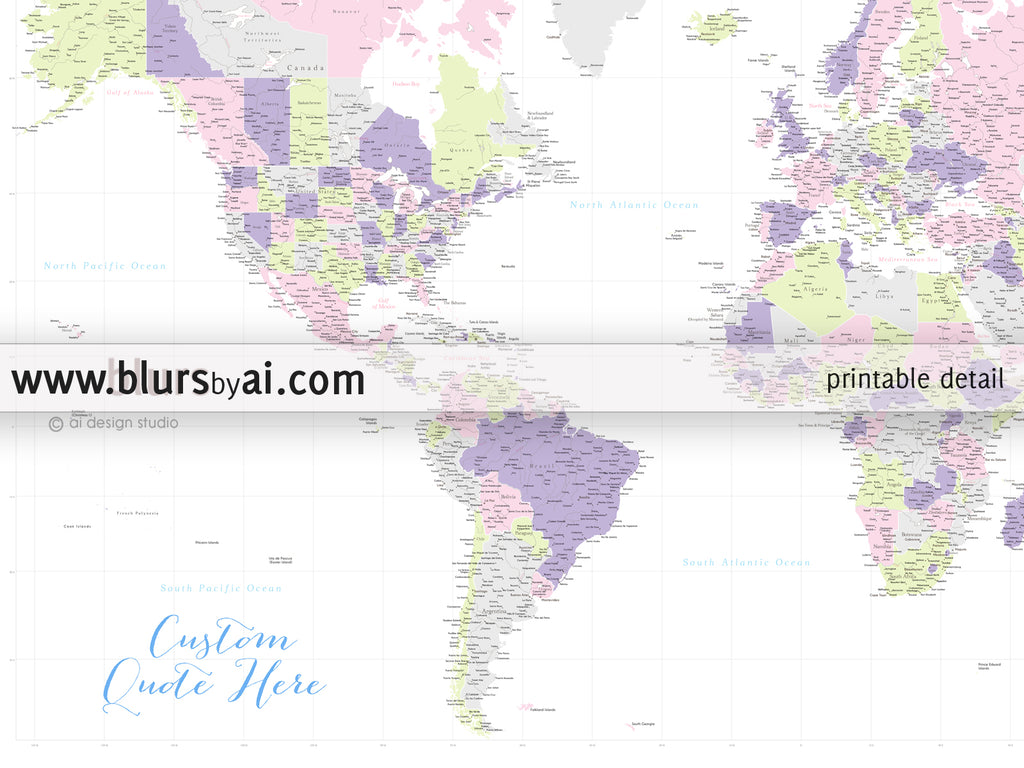 Personalized World Map Printable Art Highly Detailed World Map - Us states and capitals map printable