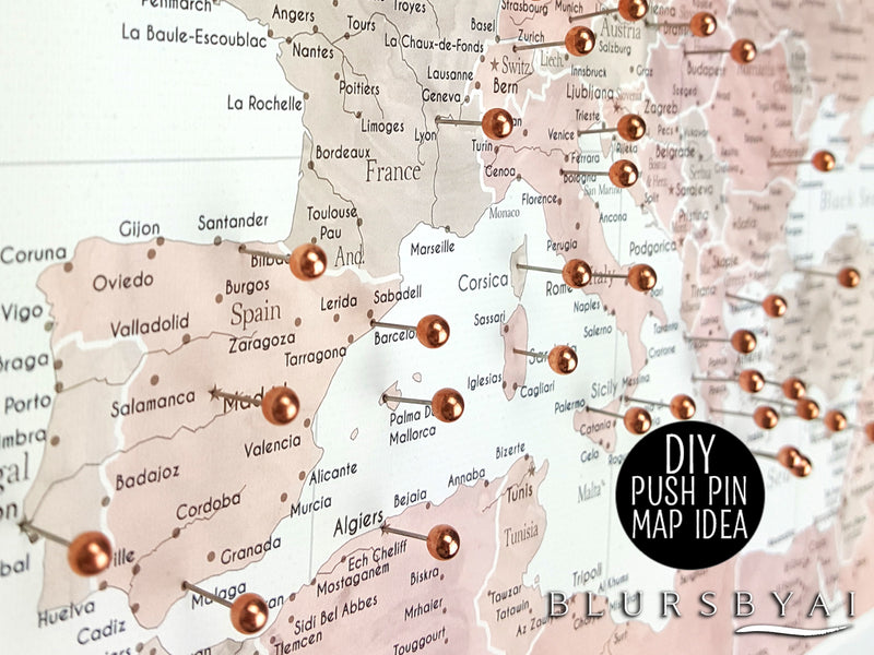 "Custom world map print - highly detailed map with cities in dusty pink and grey. ""Piper"""