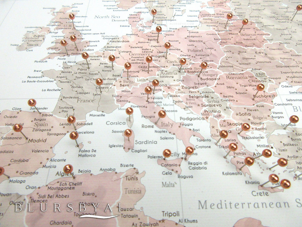 "Custom large & highly detailed world map canvas print or push pin map in dusty pink and grey. ""Piper"""