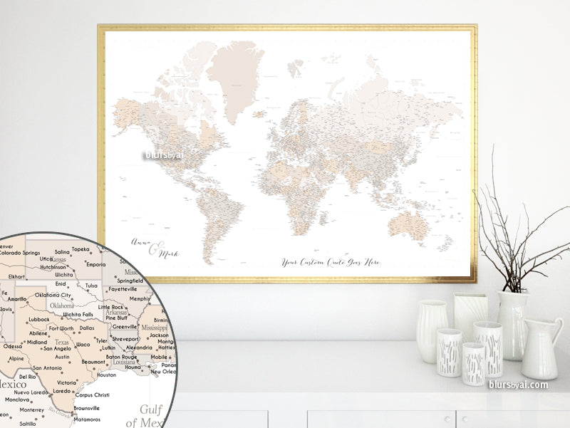 "Custom world map print - highly detailed map with cities in light brown. ""Belinda"""