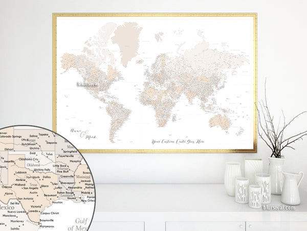 "Personalized world map print - highly detailed map with cities in light brown. ""Belinda"""