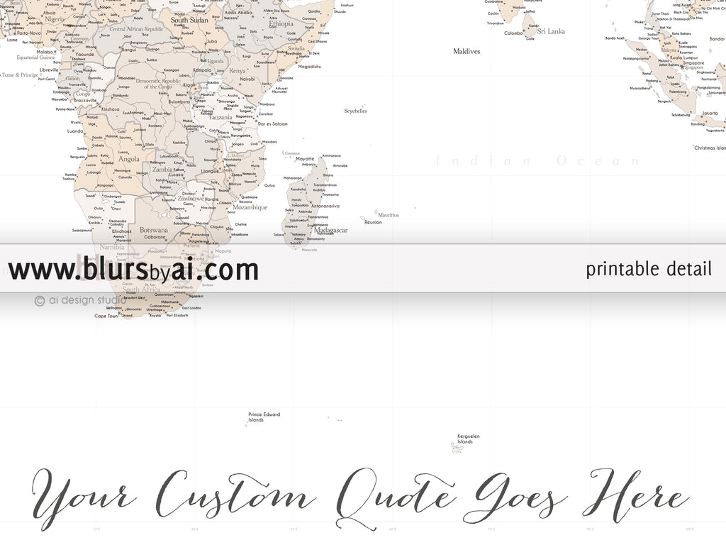 Personalized World Map Highly Detailed World Map Printable With - Map of us capitals printable