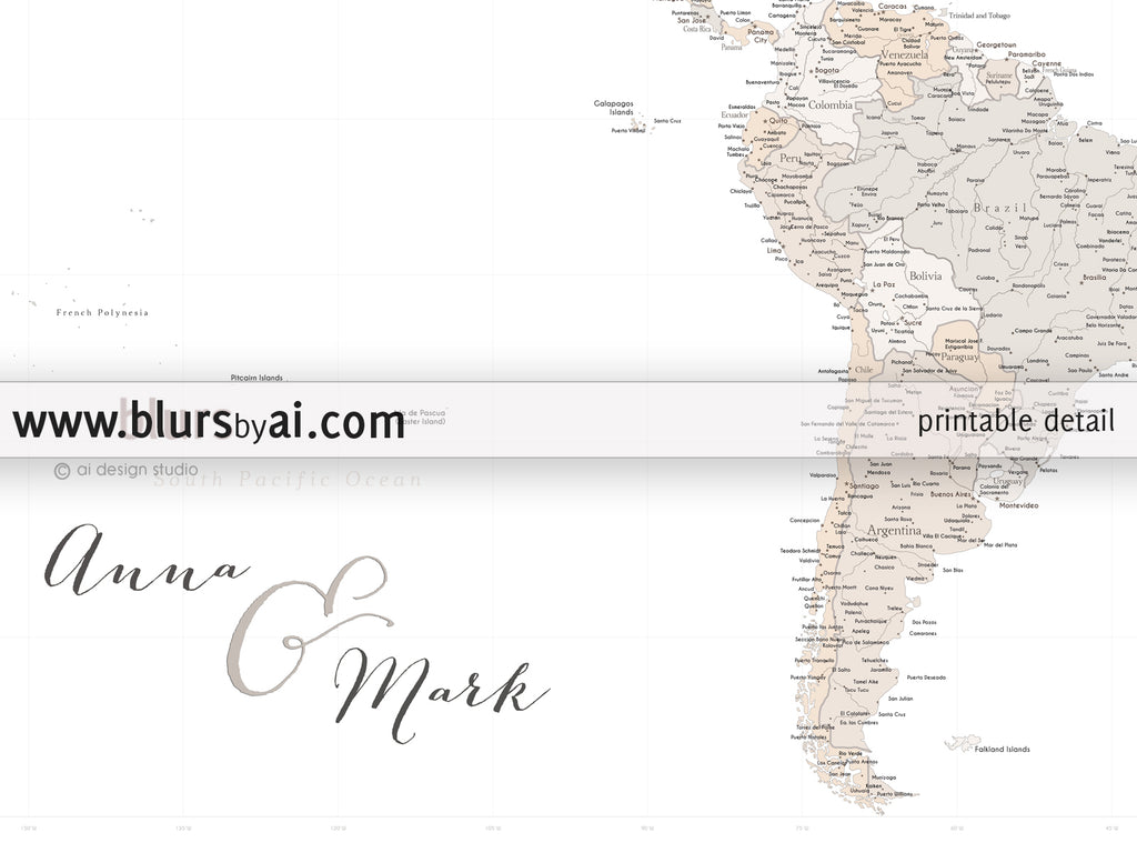Personalized world map highly detailed world map printable with