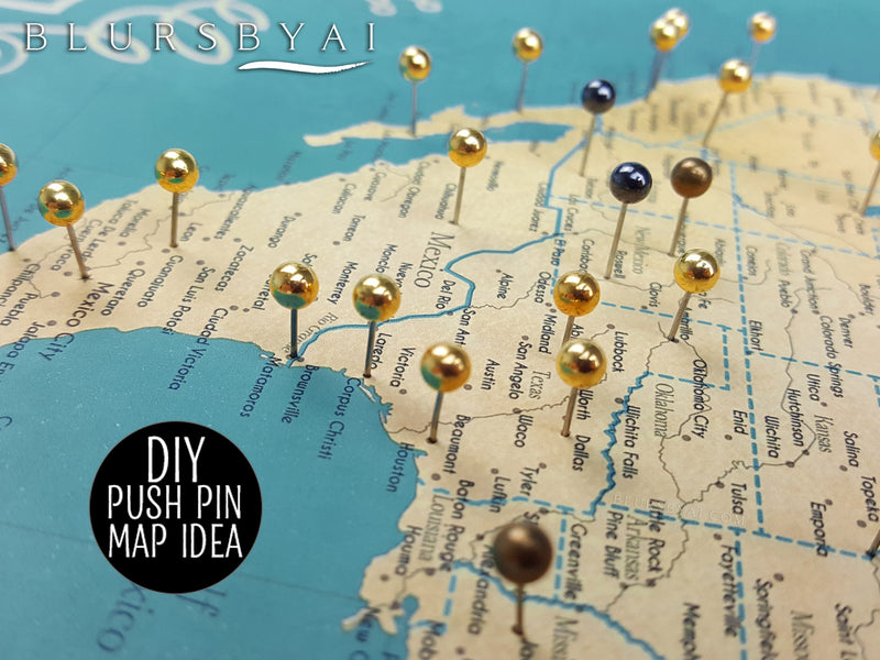 "Custom world map print - highly detailed map with cities in teal and gold. ""Lexy"""