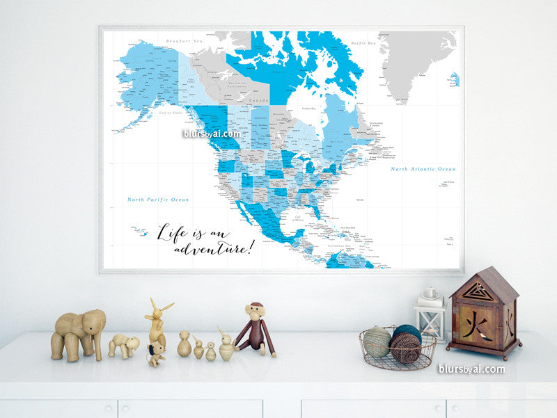 "Printable North America map with cities in shades of blue and grey, highly detailed map in 36x24"" - For personal use only"
