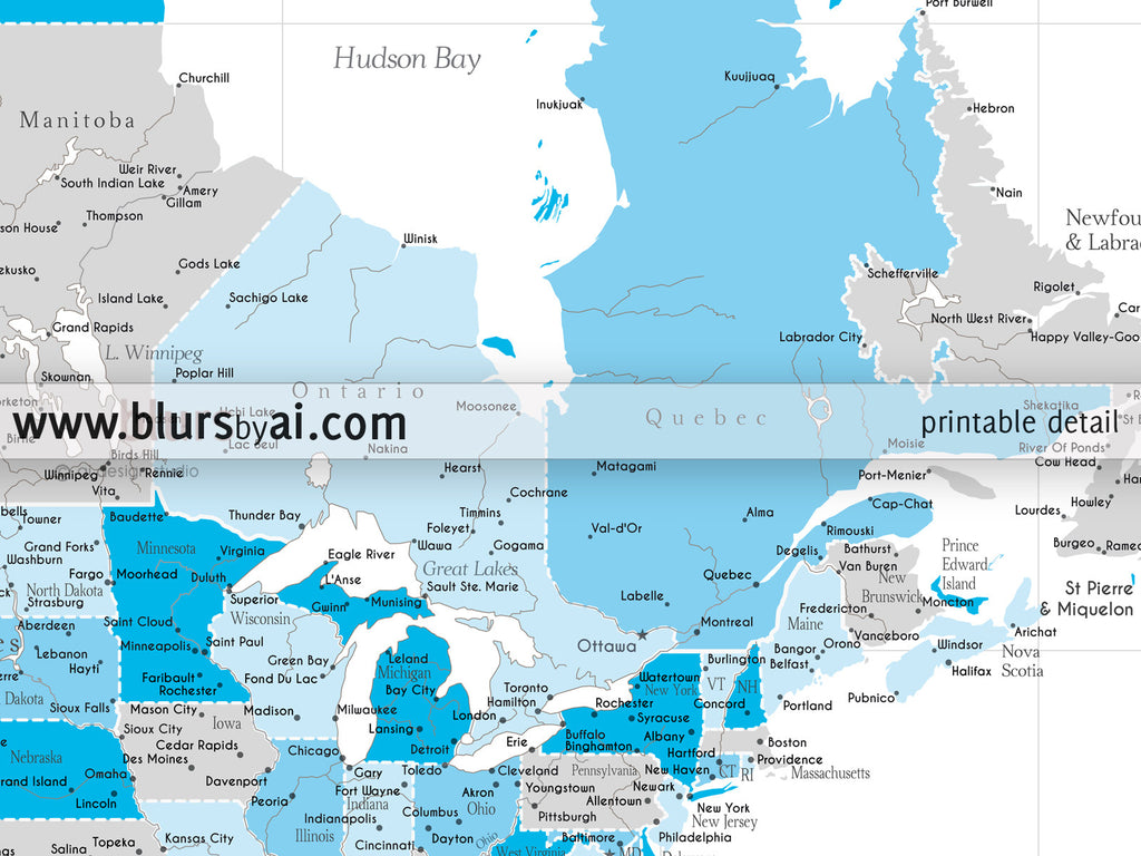 Printable North America map with cities in shades of blue and grey, highly detailed map in 36x24""