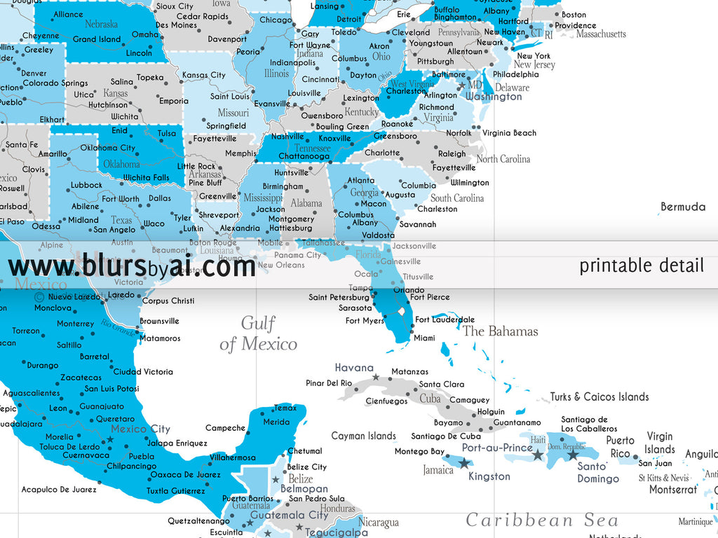 Printable North America map with cities in shades of blue and grey
