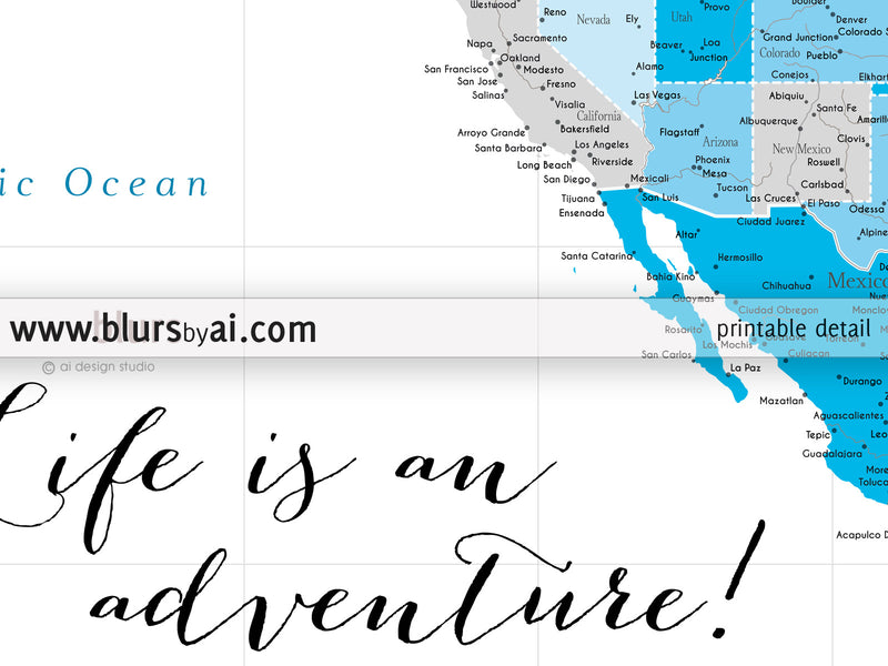 Custom quote - highly detailed North America printable with cities, capitals, countries, US States... labeled. Blue days