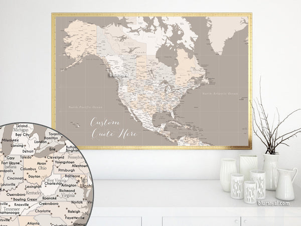 Custom quote - highly detailed North America printable with cities, capitals, countries, US States... labeled. Light earth tones