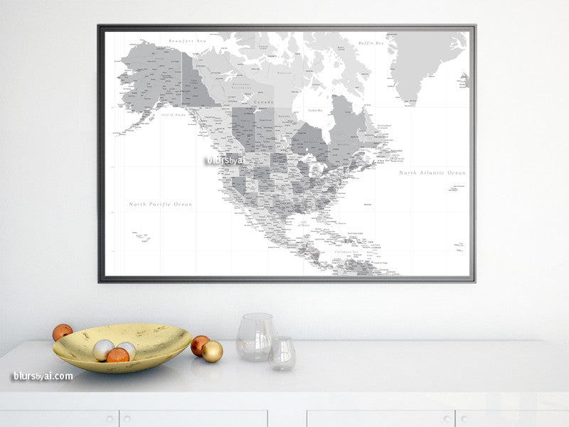 Printable North America map with cities, grayscale, no quote, highly detailed map in 36x24""