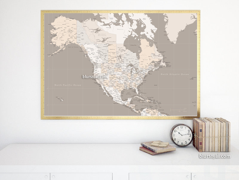 Large printable map of North America with cities, capitals, states, provinces... in neutrals, 36x24""