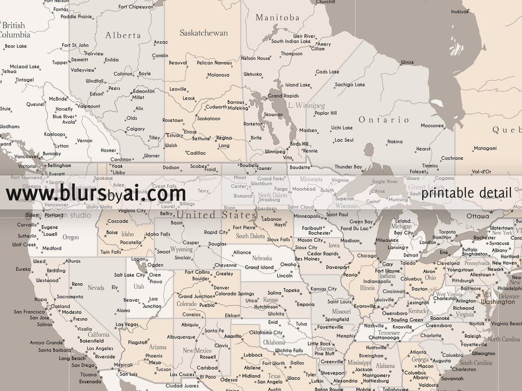 Personalized map highly detailed North America printable with