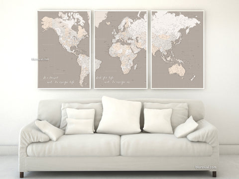 "Multi panel, custom highly detailed world map print - Brown world map with cities. ""Light earth tones"""
