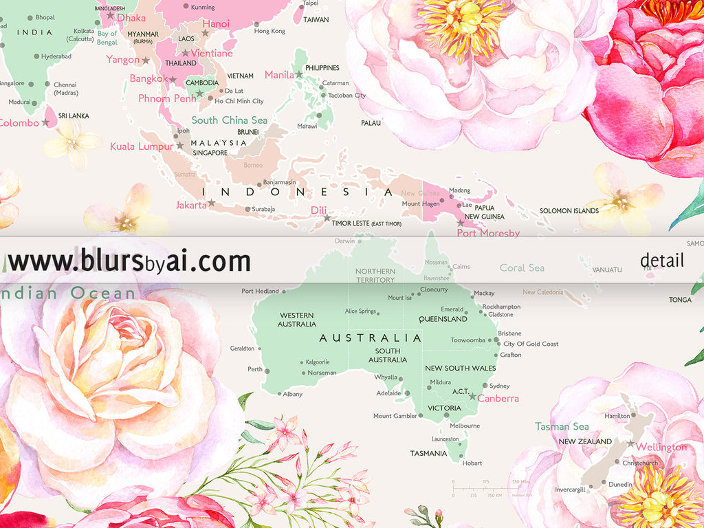 printable world map with cities pastel florals large 36x24